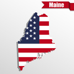 Maine State map with US flag inside and ribbon