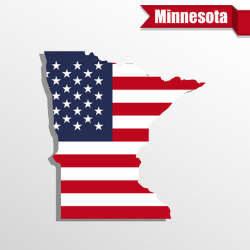 Minnesota State map with US flag inside and ribbon