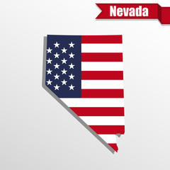Nevada State map with US flag inside and ribbon