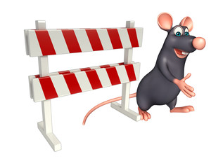 cute Rat cartoon character  with baracade