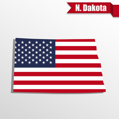 North Dakota State map with US flag inside and ribbon