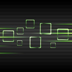 Abstract green glowing vector squares