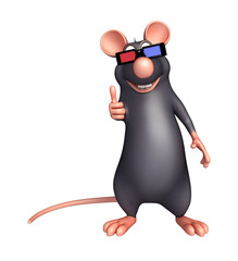 Rat cartoon character  with 3D gogal
