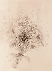 Color drawing of ornamental flower structure. Original hand drawn on paper.