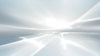 Poster Fractal waves white futuristic background