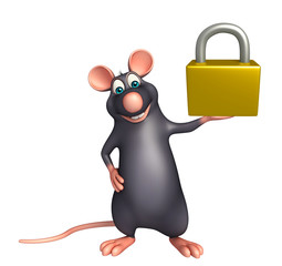 fun Rat cartoon character with lock
