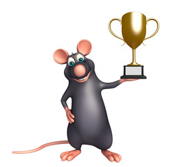 cute  Rat cartoon character with winning cup