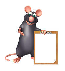 fun Rat cartoon character with exam pad
