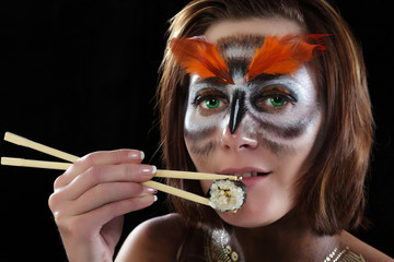 girl-owl and Sushi