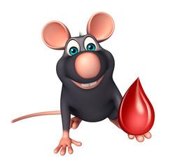 fun  Rat cartoon character with blood drop