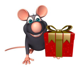 cute Rat cartoon character with giftbox