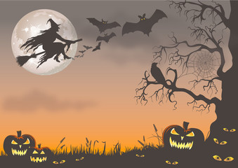 Witch, bats and pumpkins at halloween