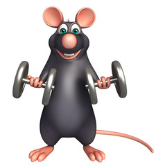 fun  Rat cartoon character with dumbbell