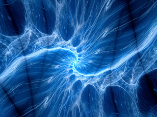 Blue glowing plasma curves fractal