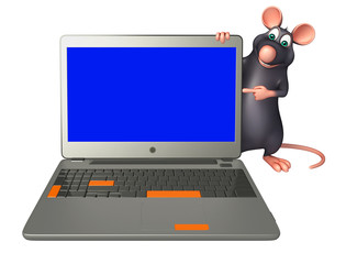 Rat cartoon character with laptop