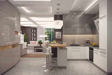 3D rendering of kitchen in classic appartment