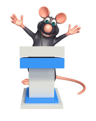 Rat cartoon character with speech stage