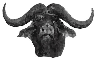 Low poly Buffalo head in EPS 8 format on the wight background