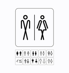 Toilet sign door/wall plate. Original WC icons set.