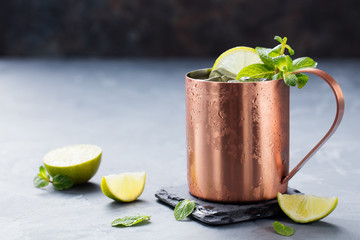 Cold Moscow Mules cocktail with ginger beer, vodka, lime Grey stone background Copy space