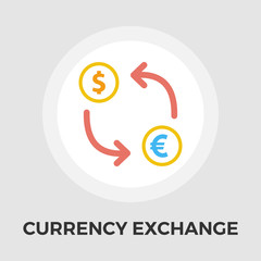Currency exchange vector flat icon