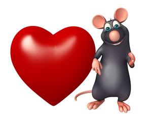 fun Rat cartoon character with heart