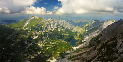 View of Susicko Jezero Lake from Bobotov Kuk Peak, Durmitor National Park, Montenegro
