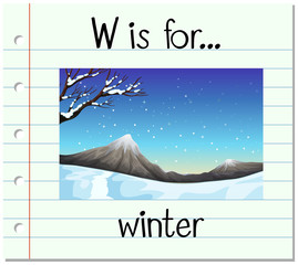 Flashcard letter W is for winter
