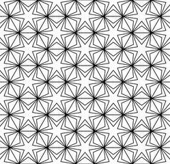 Vector seamless texture. Repeating geometric tiles. Stars inscribed in hexagons. Monochrome graphic design.