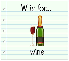 Flashcard letter W is for wine