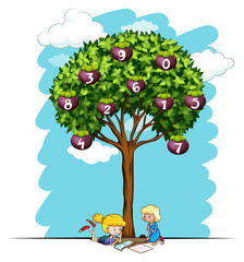 Girls reading under tree with numbers