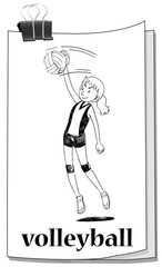 Card with girl playing volleyball