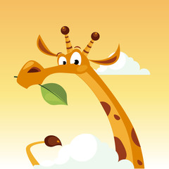 Giraffe Character Holding A Leaf