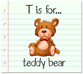 Flashcard letter T is for teddy bear