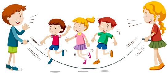 Kids skipping rope  in team