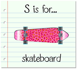Flashcard letter S is for skateboard