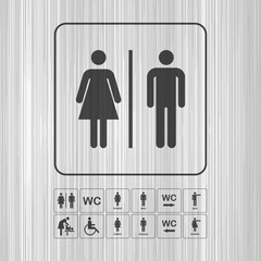 Toilet WC door wall plate. Icons set.