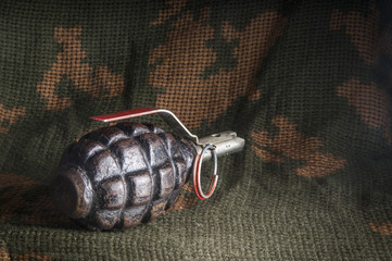 Fragmentation grenade on camouflage clothing