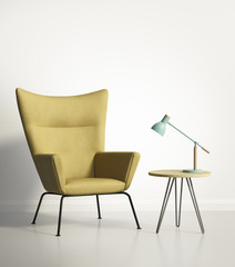 Yellow armchair over a white wall