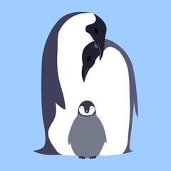 Vector flat illustration Penguin family.