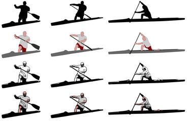 sprint canoe competitors - vector
