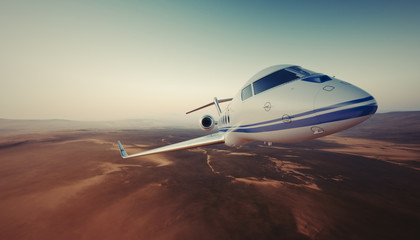 Realistic Photo of White Luxury Generic Design Private Jet Flying in Sky under Earth Surface.Uninhabited Desert Mountains Background. Business Travel Picture.Wide.Front view.Film Effect.3D rendering.