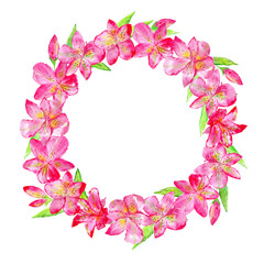 Floral wreath.Garland with lily flowers and leaves.Watercolor hand drawn illustration.It can be used for greeting cards, posters, wedding cards.