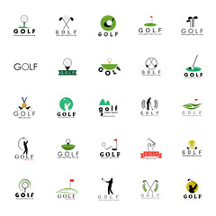 Golf Icons Set - Isolated On White Background - Vector Illustration, Graphic Design