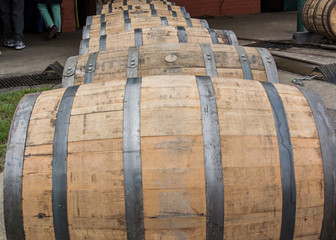 Close up of Rolling Bourbon Barrels