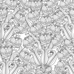 Vector decorative seamless black and white flowers