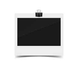 Blank vintage paper photo frame from instant camera with shadow with paper clip isolated on white for images. realistic vector illustration of photoframe with space for images and photos. Photo frame