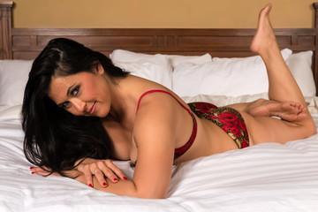 Eurasian woman in lingerie