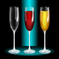 Glass of wine, red, white, blank. High quality vector