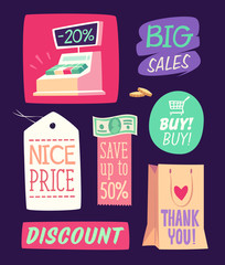 Shopping emblems. Vector illustration.